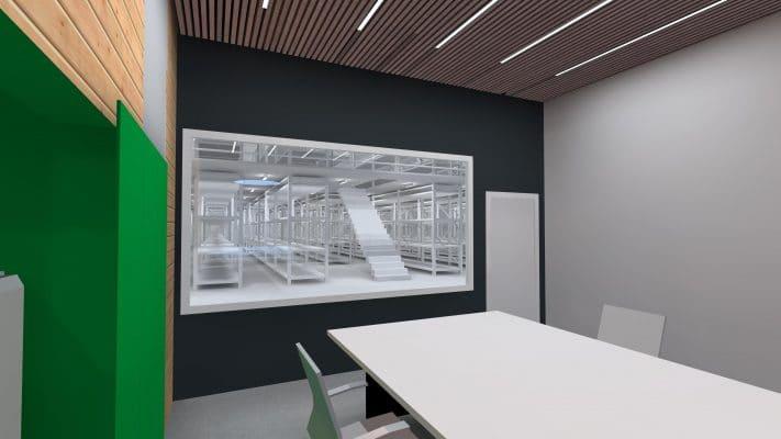 simulation 3d de l'éclairage d'un bureau dans une hangar industriel